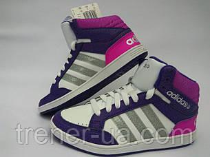 Кросівки високі для дівчаток/кеди в стилі Adidas дитячі/біло-фіолетові кросівки жіночі/модні кросівки