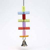 ПОДВЕСКА С ПРИТИКАМИ и колокольчиком игрушка, акрил, 23 см.