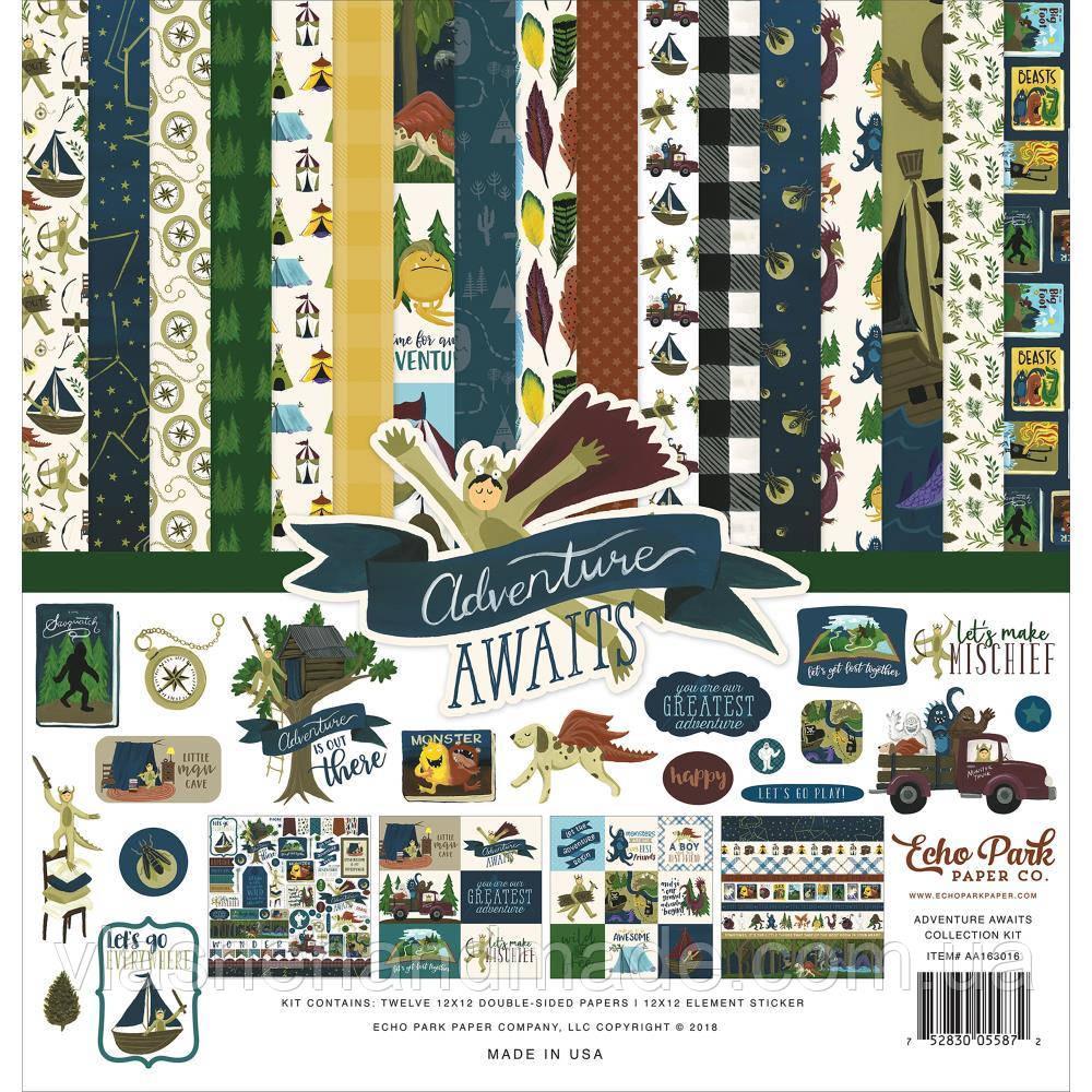 Набір двостороннього паперу - Adventure Awaits - Echo Park - 30x30