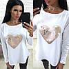 Женская кофточка с аппликацией из пайетки сердце / 3 цвета  арт 7113-445, фото 2