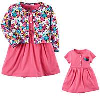 Комплект плаття-боді з кардіганом для дівчинки Carters квіти рожевий