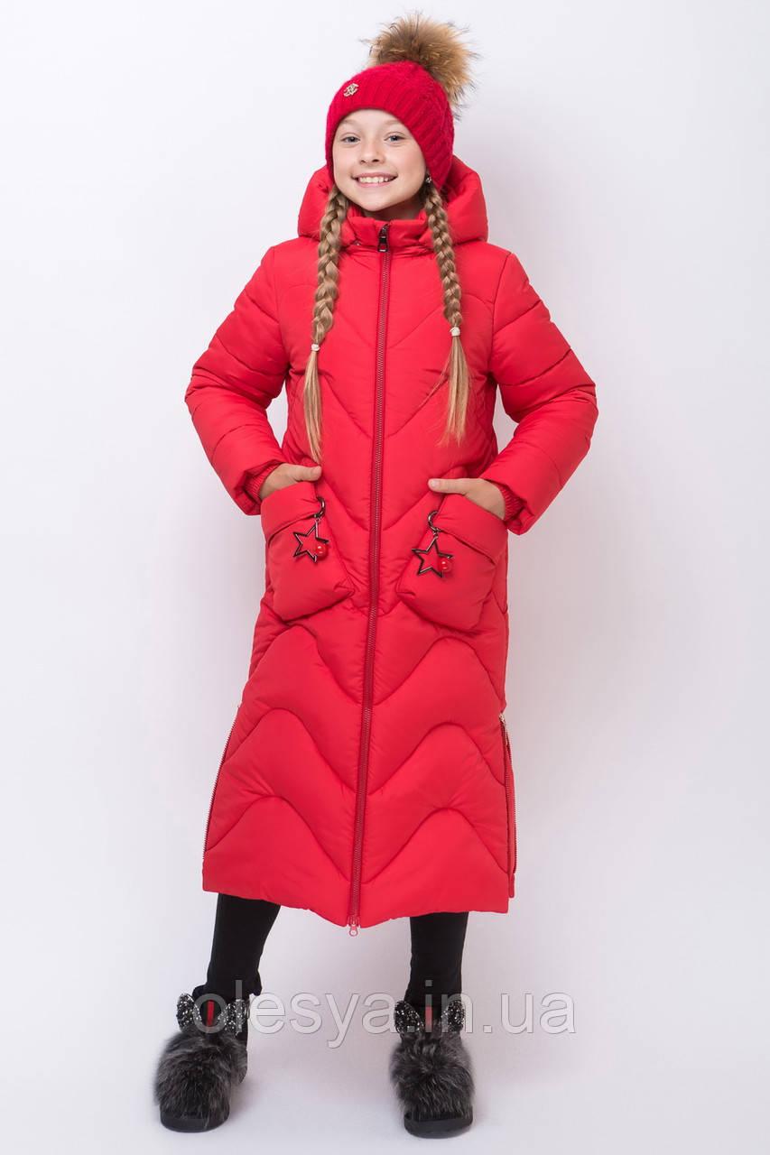 Теплое длинное зимнее пальто для девочки  Размеры 134- 164 топ!