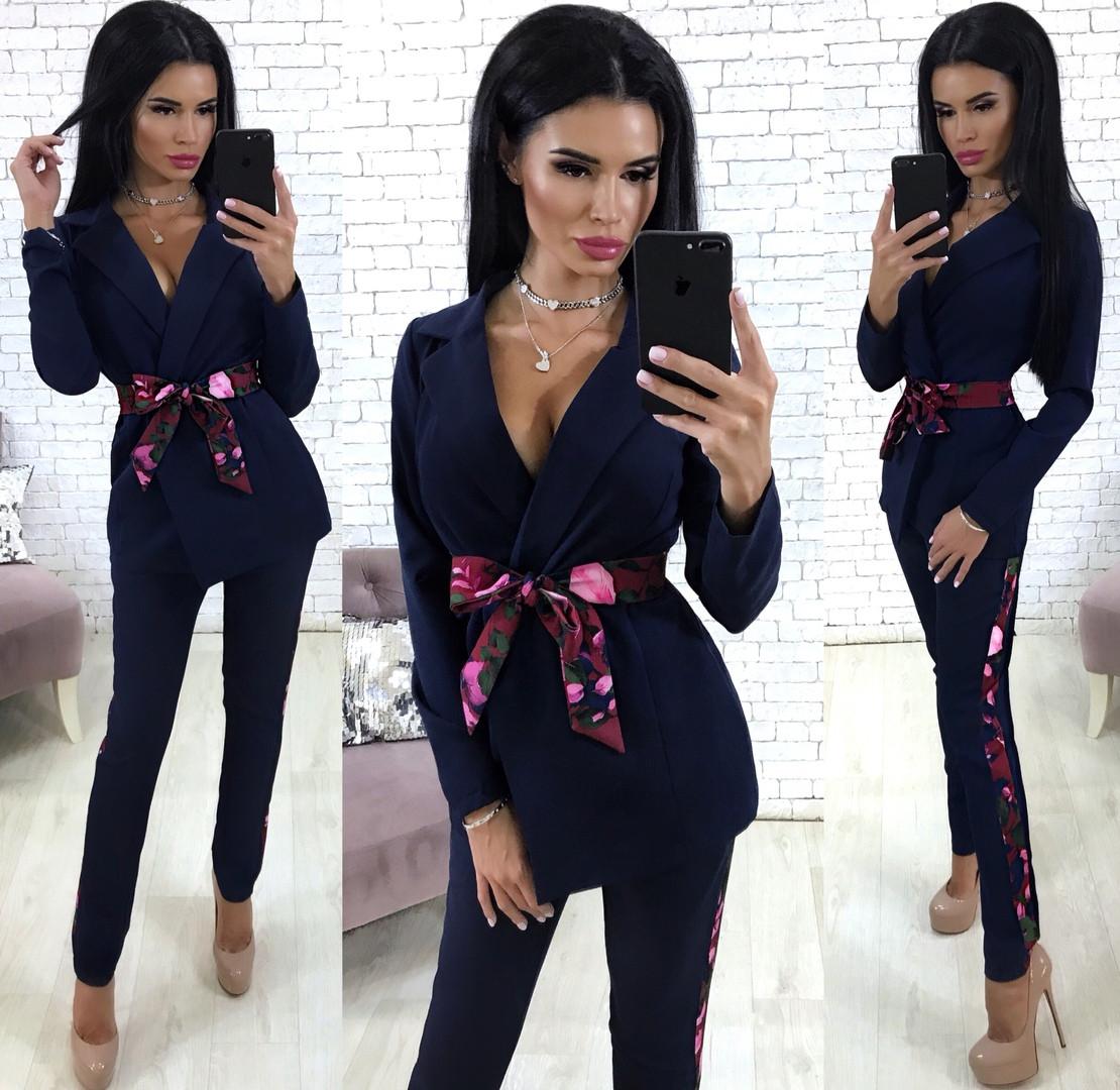 0bb87405b9341d2 Женский костюм в классическом стиле, пиджак на запах и брюки с лампасами /  4 цвета