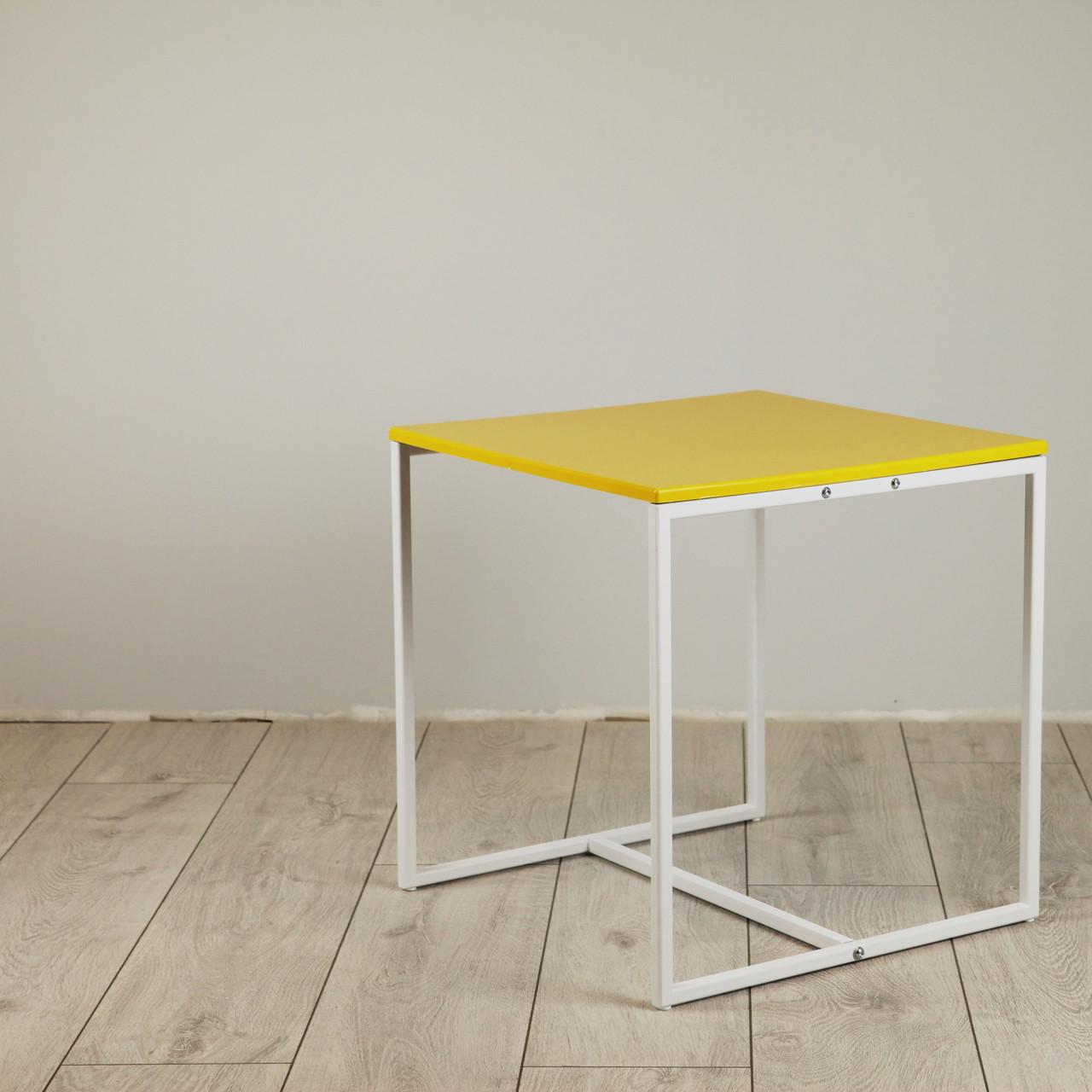 Стол журнальный Куб 400/450 Желтый - белый (Cub 400/450 yellow-white)