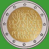 Португалия 2 евро 2018 г. 250-летие Imprensa Nacional . UNC