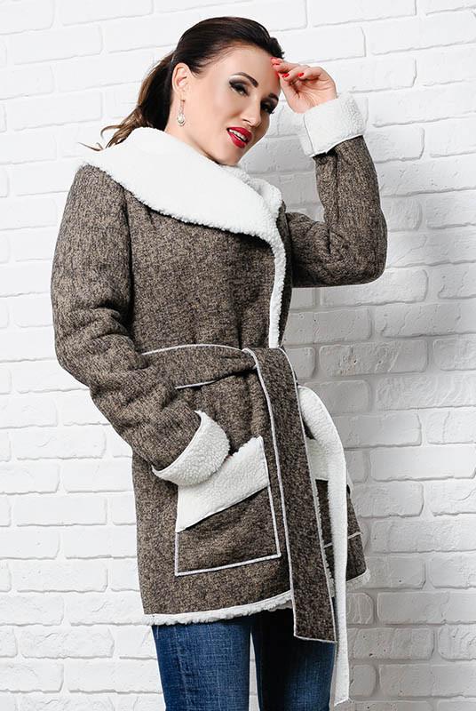 Удлиненная куртка на овчине  - Бенжамина - капучино