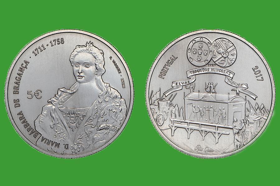 Португалия 5 евро 2017 г. Королева Мария Барбара , UNC