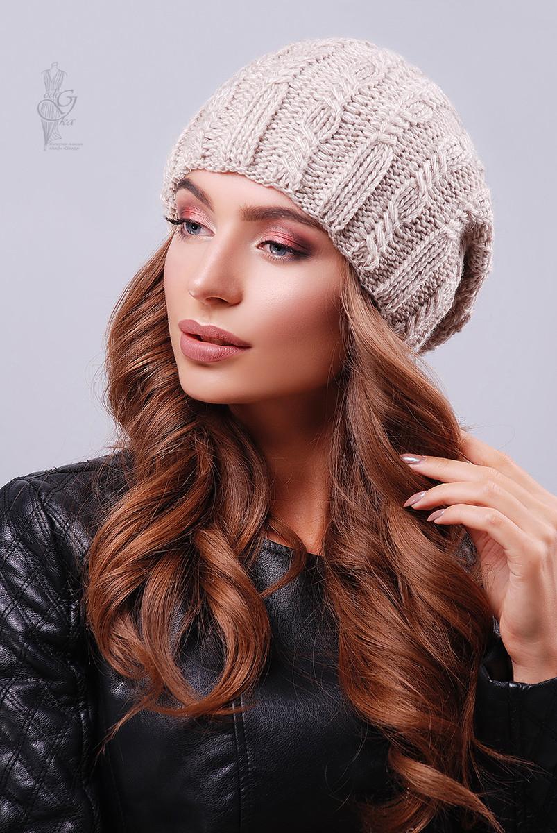 Вязаные женские шапки Ула-1 нить шерсть-акрил