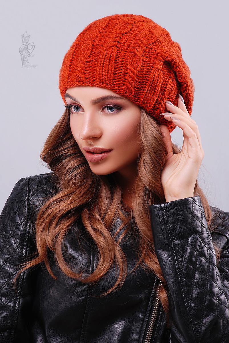 Вязаные женские шапки Ула-5 нить шерсть-акрил