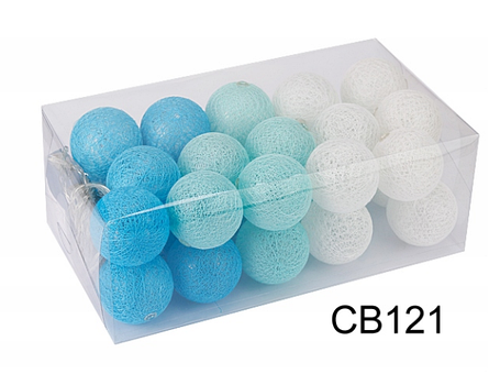 Гирлянды декоративные Cotton Balls 30led, диам 6см, длина 540см на батарейках АА, фото 2