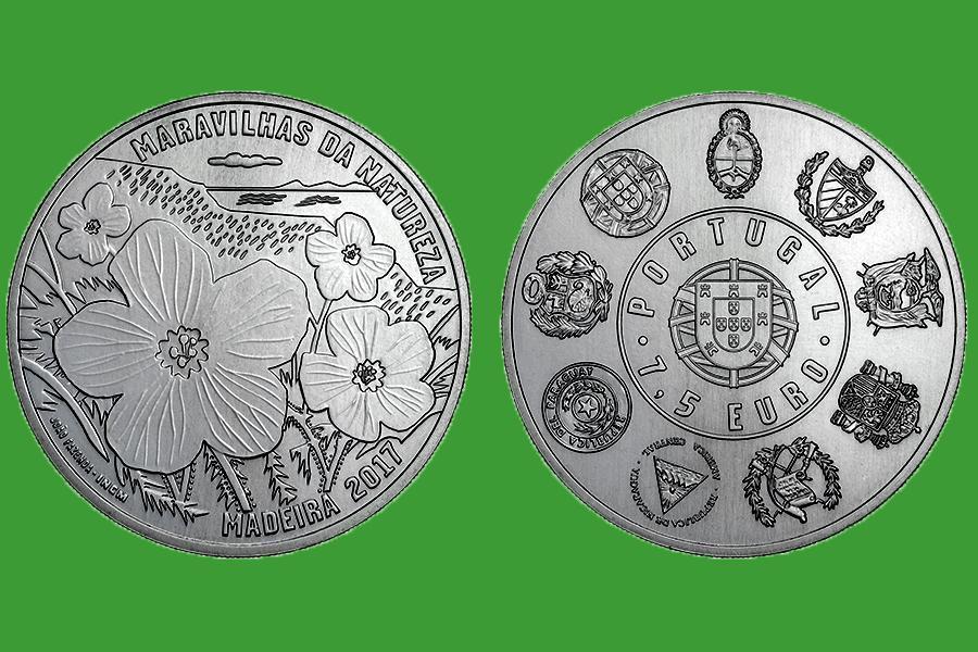 Португалия 7,5 евро 2017 г. Природа Мадейры , UNC