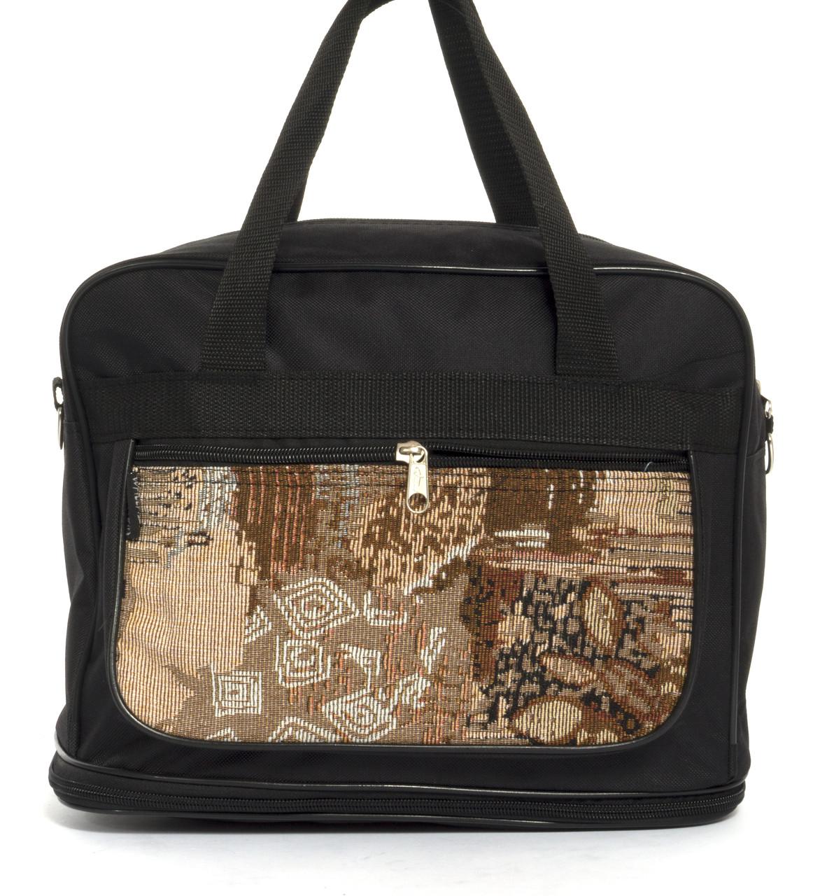 Вместительная мужская текстильная сумка черного цвета с двойным дном WALLABY art. 20711 Украина