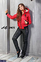 Зимний спортивный костюм женский дутый на стеганом синтепоне и овчине брюки черные куртка красная Филип Плейн