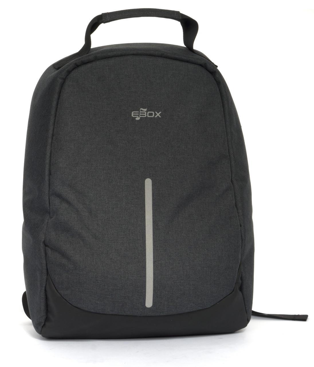 Удобный прочный и надежный городской рюкзак для гаджетов с плотной ткани и хорошей защитой EBox art. 65615 сер