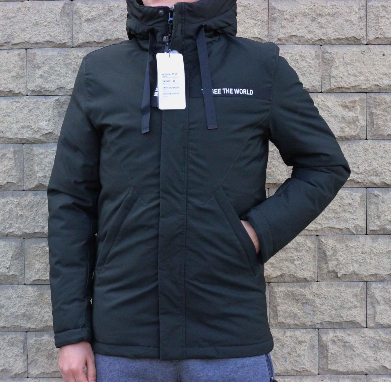 Мужская зимняя куртка хаки Remain с капюшоном 50 размер