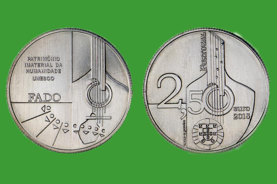 Португалия 2,5 евро 2015 г. Фаду, UNC