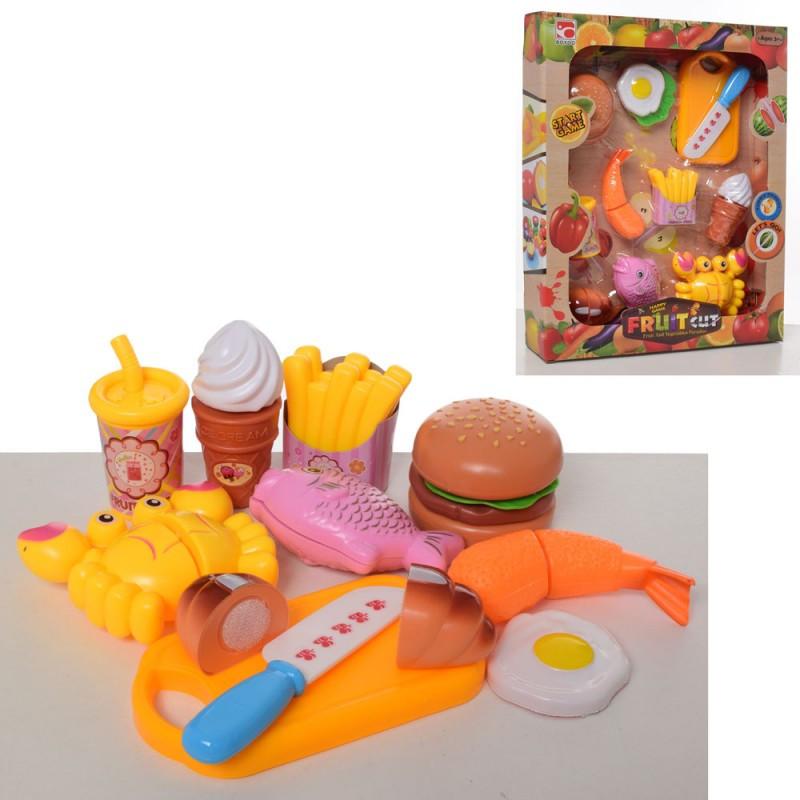 Игровой набор продукты на липучке фаствуд, морепродукты, мороженное, досточка и нож, 9013-1
