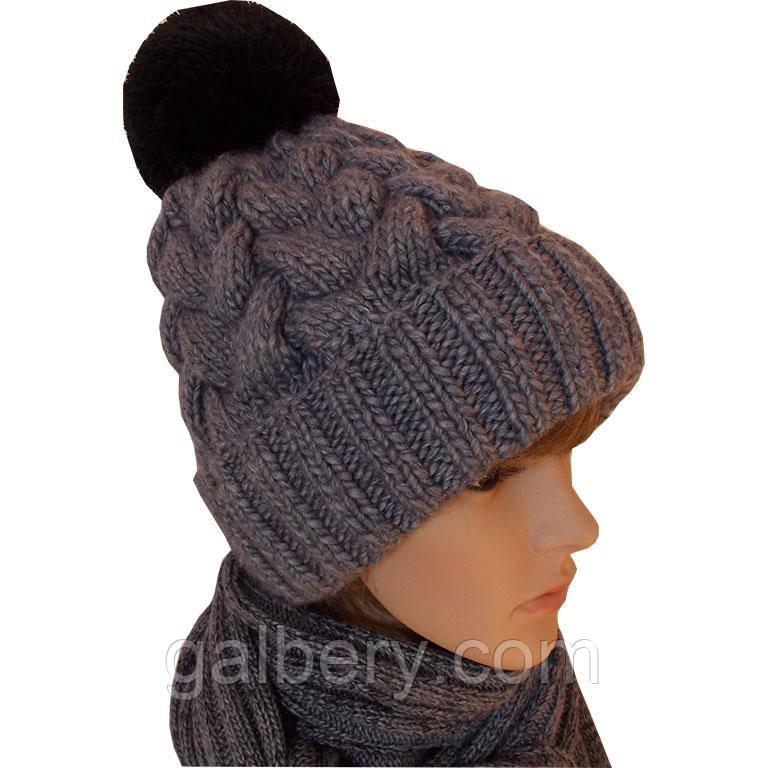 """Зимняя шапка """"Коса с тенью"""" ручной работы"""