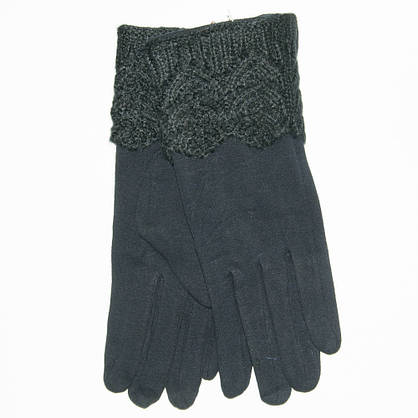 Женские трикотажные стрейчевые перчатки с плюшевым утеплителем - F18-1-5, фото 3