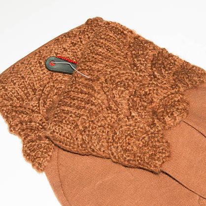 Женские трикотажные стрейчевые перчатки с плюшевым утеплителем - F18-1-5, фото 2