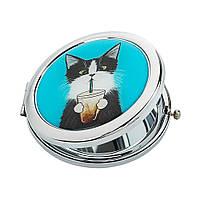 Карманное зеркальце для девушки «Кот со стаканом»