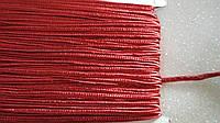 Красный шнур сутажный плоский 3мм, моток 50м.
