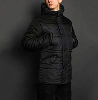 Зимняя куртка парка мужская синяя с черным бренд ТУР модель Бизон (Bizon)