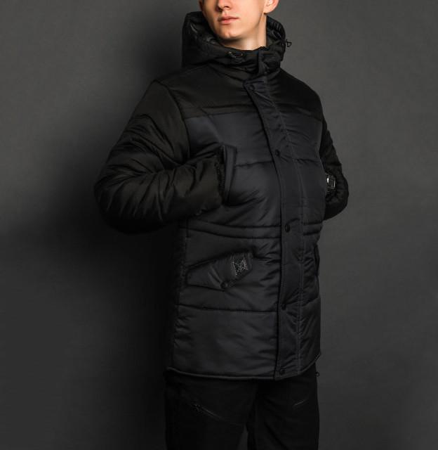 Зимняя куртка парка мужская синяя с черным бренд ТУР модель Бизон (Bizon) размер S, M, L, XL, XXL