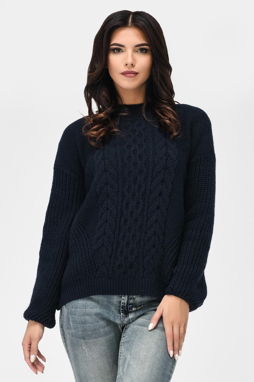 Вязаный свитер с узорами темно-синий