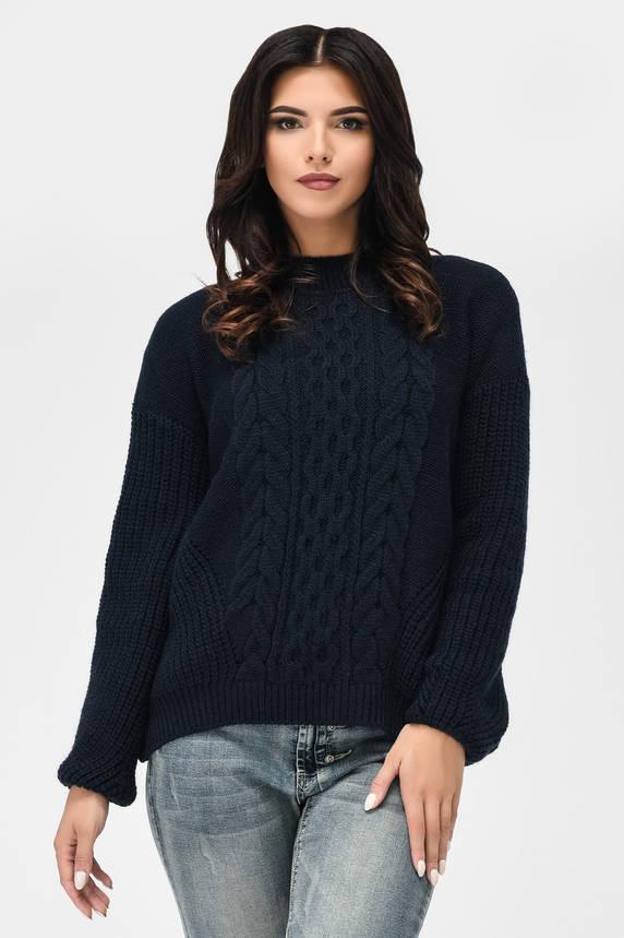 Вязаный свитер с узорами темно-синий , фото 2