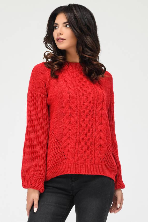 Вязаный свитер с узорами красный, фото 2