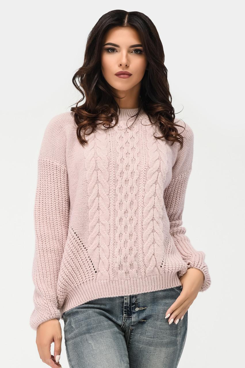 Вязаный свитер с узорами пудра