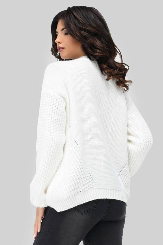 Вязаный свитер с узорами белый, фото 2