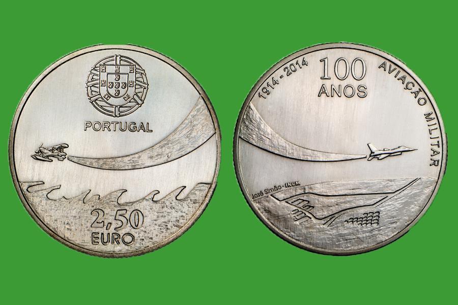 Португалия 2,5 евро 2014 г. 100 лет военной авиации , UNC