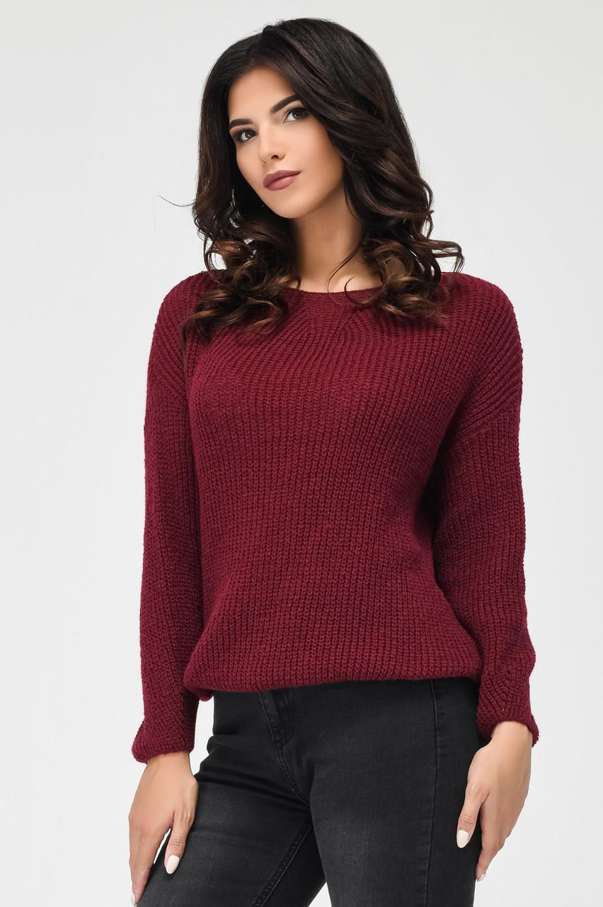 Женский вязаный свитер бордо