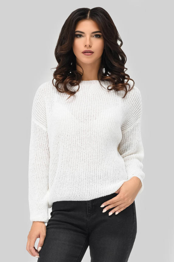 Женский вязаный свитер белый, фото 2