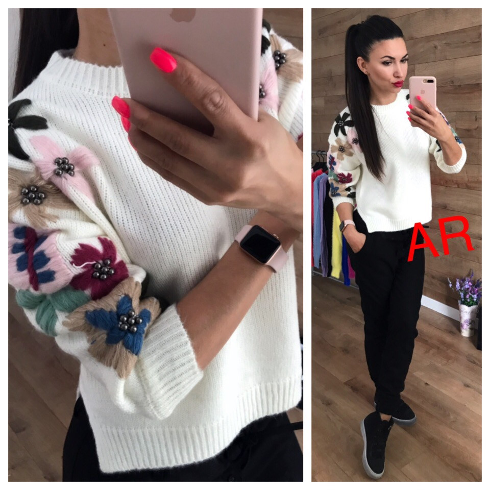 Женский свободный свитер с вышивкой в расцветках. АР-11-1018