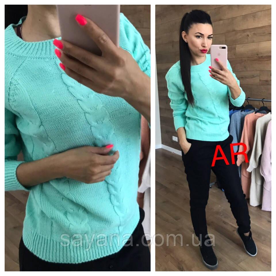 Женский свитер с ажурной вязкой в расцветках. АР-12-1018