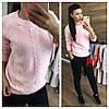Женский свитер с ажурной вязкой в расцветках. АР-12-1018, фото 7