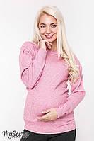Теплый свитер для беременных GAIA, из шерстяного трикотажа-резники, розовый меланж*, фото 1