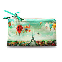 Необычная косметичка на молнии с принтом «Париж бирюзовый»