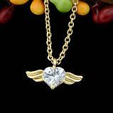 Подвеска Сердце с крыльями на цепочке, фото 4
