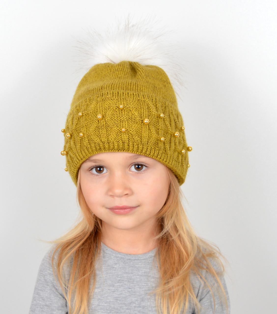 """Детская шапка с помпоном и жемчугом """"Фиби"""" Оливковый"""