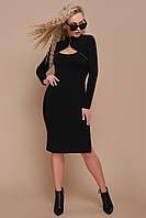 Чорне плаття міді з вирізом на грудях, фото 1