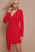 Красное платье на запах длинный рукав, фото 1