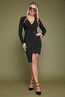 Чорна сукня на запах довгий рукав, фото 1