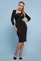 Черное платье по фигуре с молнией, фото 1