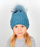 """Детская шапка с помпоном и жемчугом """"Фиби"""" Бирюза, фото 1"""