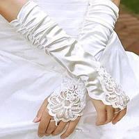 Перчатки белые длинные для невесты