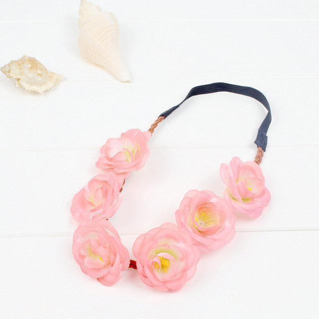 Віночок на голову на резинці Рожеві троянди